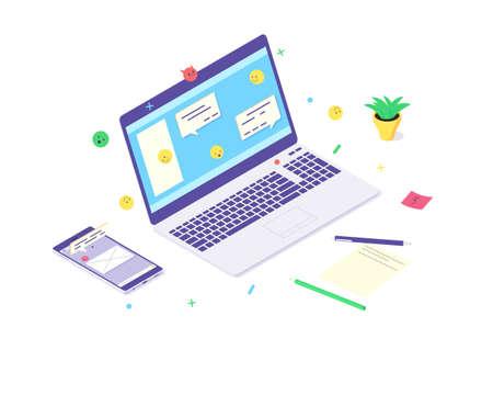 Isometric laptop technology concept smartphone internet social media chat communication icon flat vector illustration