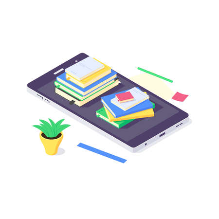Isometric book education online study knowledge design web learning and books web library vector illustration Ilustrace