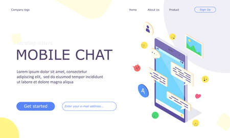 Isometric mobile social media chat app banner. Online application with message, emoji and bubble concept for network