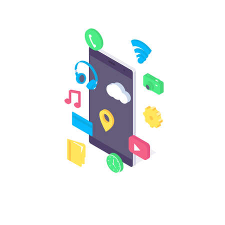Isometric mobile app flat concept application design user interface screen icon smartphone software vector illustration