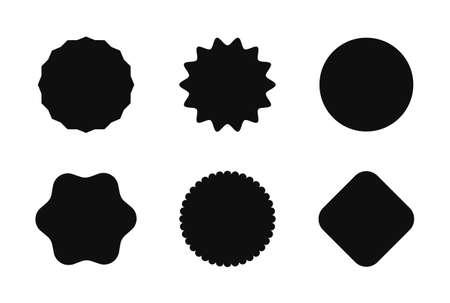 Starburst sticker set for promo sale. Vector badge shape design - circle and roundburst label, price offer promotion Ilustrace