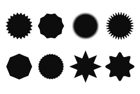 Starburst sticker set for promo sale. Vector badge shape design - star and roundburst tag, price offer promotion Ilustrace