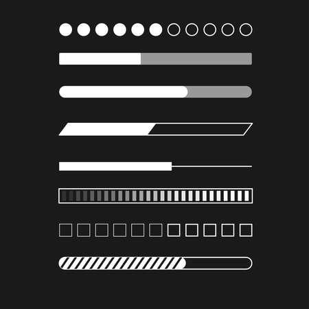 Web progress status load data upload bar digital symbol download buffer page indication concept vector illustration Ilustrace