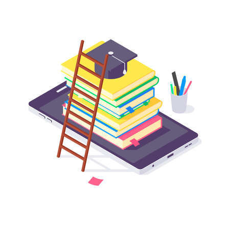 Isometric book university and school education science study teaching learn knowledge vector illustration