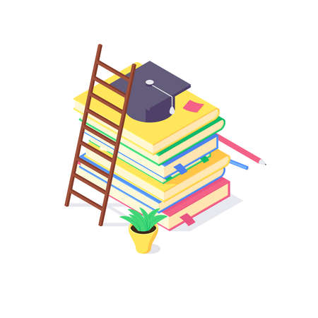 Isometric book university and school education science study universities teaching learn knowledge vector illustration
