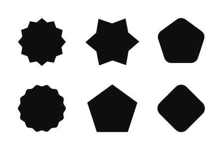 Starburst sticker set for promo sale. Vector badge shape design - star and round burst tag, price offer promotion