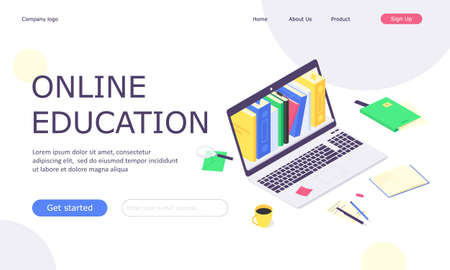 Isometric online education study web template, computer learn and book library flat design vector illustration