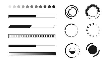 Web progress loader interface sign load icon upload sign symbol download element network shape vector illustration Çizim