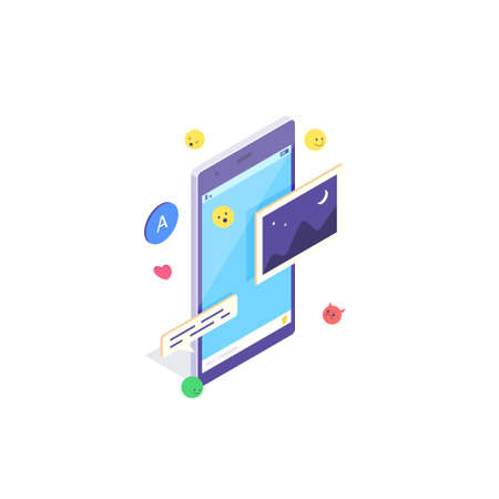 Isometric mobile social media chat app. Phone application with message, emoji and bubble for network talk