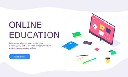 Isometric online education study web template computer learn and book library flat design vector illustration