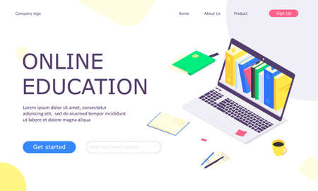 Isometric online education study web template concept, computer learn and book library flat design vector illustration Ilustrace