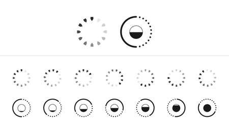 Web progress round loader interface wait load icon upload sign symbol download preloader shape vector illustration