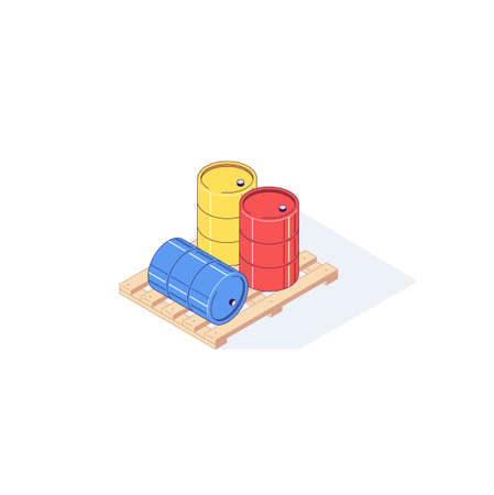 Isometric wooden pallet with barrels. 3d pallets cargo goods fuel benzin petrol gas and combustible vector illustration Ilustrace