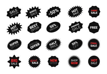 Starburst sticker set for promo sale. Vector badge shape with signs design - star and oval price offer promotion
