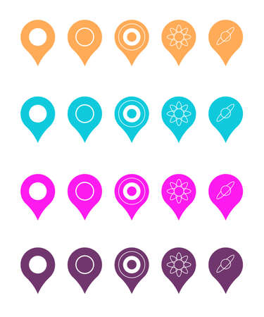 Pins for map, location symbol, navigation position marker and travel place pointer app vector illustration Ilustrace