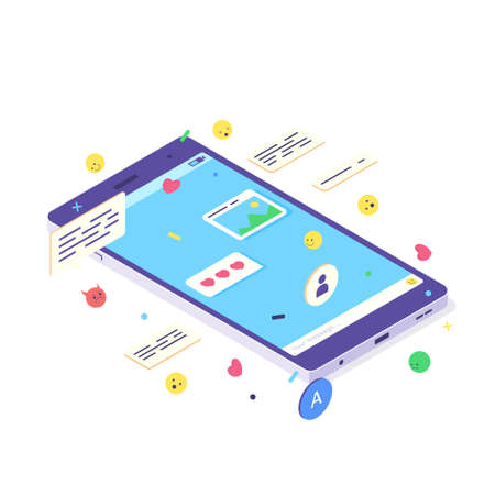Isometric mobile social media chat app. Phone application with message, emoji and bubble for network communication Ilustrace
