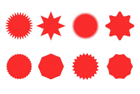 Starburst sticker set for promo sale. Vector badge shape design - star and circle icons, price label offer promotion Ilustrace
