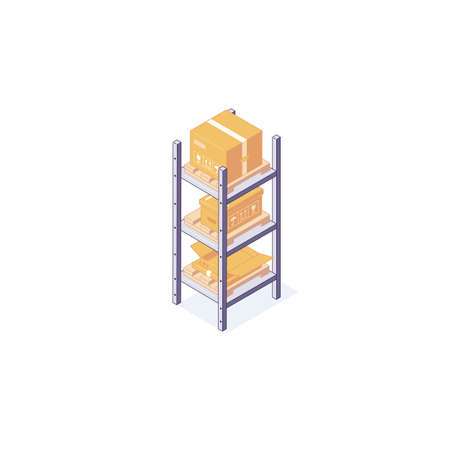 Isometric warehouse boxes equipment rack pallets and shelf. 3d box pallets shelving racking vector illustration