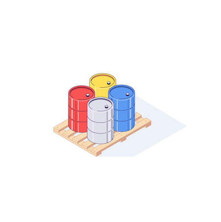 Isometric pallet with metal barrels. 3d pallets cargo goods fuel benzin petrol gas and combustible vector illustration
