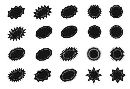 Starburst sticker set for promo sale. Vector badge shape design - star and oval price offer promotion