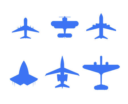 Plane symbol airplane icon set air aircraft sign flight transport collection vector illustration Ilustrace