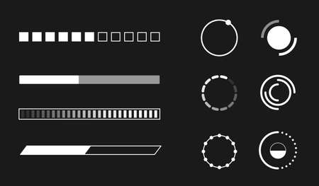 Web progress loader interface load pc upload sign digital symbol download circle indication network vector illustration Ilustrace
