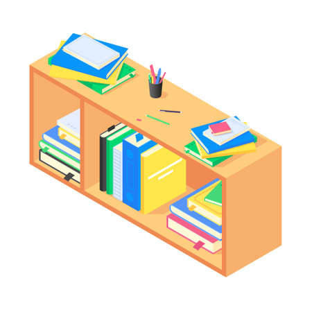 Books and chancellery on brown wooden bookshelf in isometric vector.