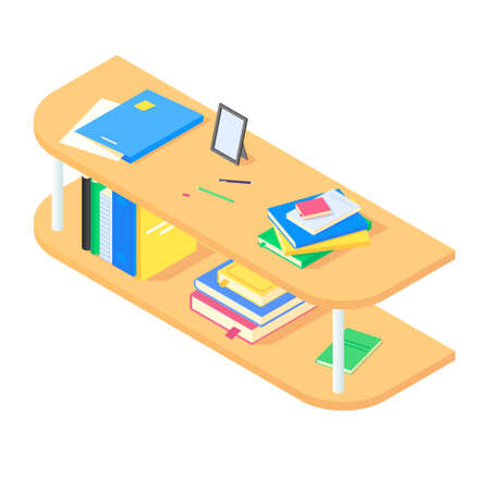 Books and chancellery on brown wooden bookshelf in isometric vector. Vettoriali