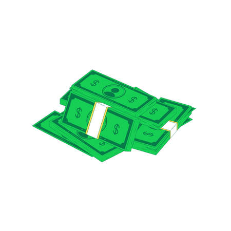 Isometric money heap. Vector illustration of stack of green banknotes