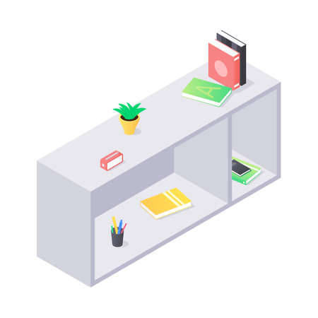 Books and chancellery on gray wooden bookshelf in isometric vector. Stacks of hard cover paper literature in shelf for education home or university interior. Rack with various home studying objects. Vettoriali