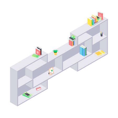 Books and chancellery on gray wooden bookshelf in isometric vector. Stacks of hard cover paper literature in shelf for education home or university interior. Rack with various home studying objects.