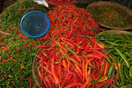 padi: Chilli Padi, Birds Eye Chilli, Bird Chilli, Thai pepper on Threshing basket.