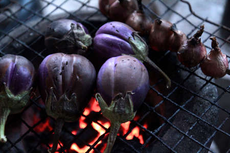 wood and fire: Eggplant Grill on wood fire.
