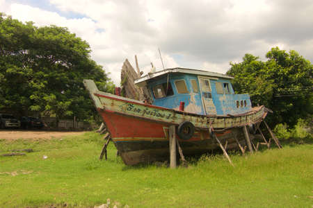 aground: Asian Fishing Boat aground In Thailand flood memorial