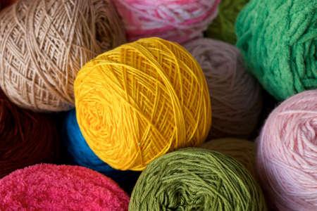 Piles of Balls yarn wool cotton silk udon Stock Photo