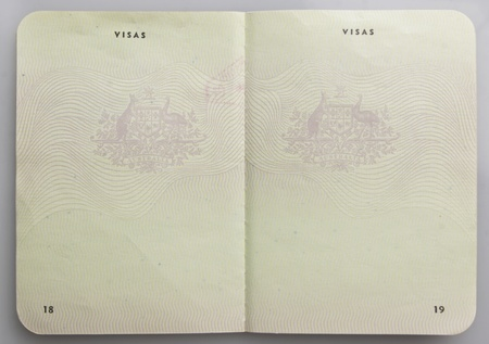 Visa pages on an old Australian Passport. Stock Photo