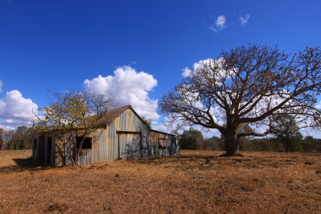 An Australian outback corrugated iron barn.