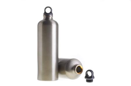 anodized aluminium: Two aluminium water bottles isolated on white background.