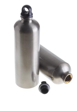anodized aluminium: Two aluminium water bottles isolated on white background