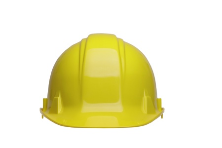 A yellow construction helmet isolated on white background. Stock Photo