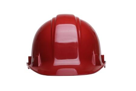 casco rojo: Casco de construcción rojo aislado en fondo blanco Foto de archivo