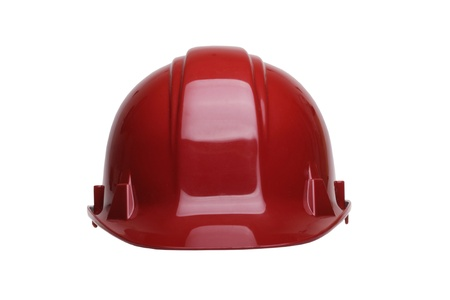Red  construction helmet isolated on white background photo