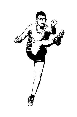 regel: Een jonge man schoppen een Australische regels voetbal op een witte achtergrond