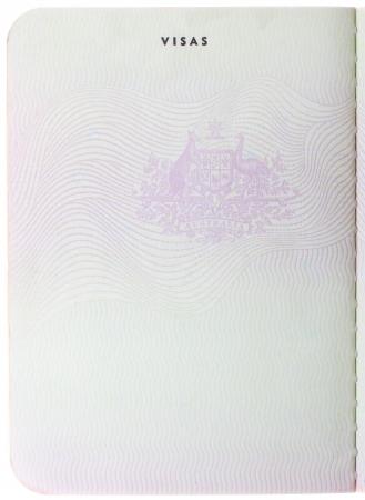 passeport: Ancienne page de passeport australien vierge isol� sur fond blanc