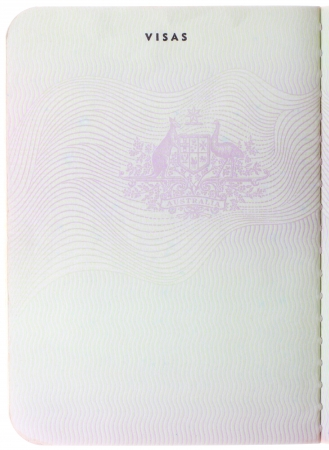 passports: Old blank Australian passport page isolated on white background
