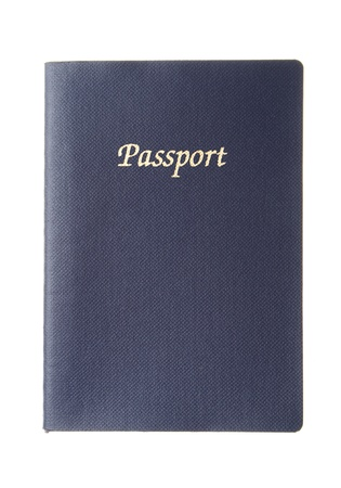 Generic dark blue passport with copy space isolated on white background