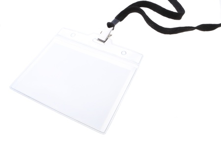 Blank clip on name tag with copy space in plastic sleave with black lanyard isolated on white. Stock Photo