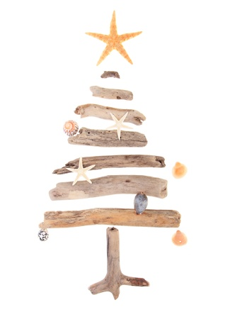 driftwood: Driftwood Christmas tree decorated with sea shells and starfish isolated on white background  Stock Photo