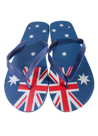 thongs: Pair of thongs with Australian flag isolated on white background Stock Photo