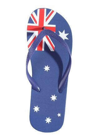 bandera blanca: Tanga con bandera australiana aislada en el fondo blanco. Foto de archivo